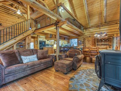 Photo for Natural log cabin w/guest house & game room, perfect for family vacations!
