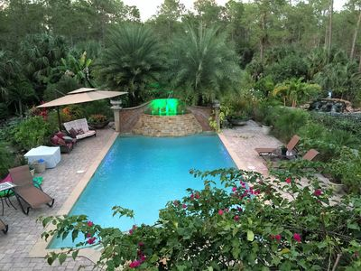 Photo for Serene Waterfalls, Garden, Privacy, Heated Pool, Spa &, Large Two Story Retreat