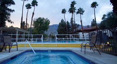 While relaxing in the jacuzzi enjoy the views of Mt. San Jacinto.