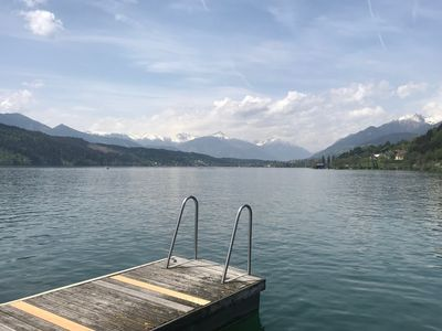 Photo for Beautiful apartment in Millstatt with panoramic lake view, garden and swimming area