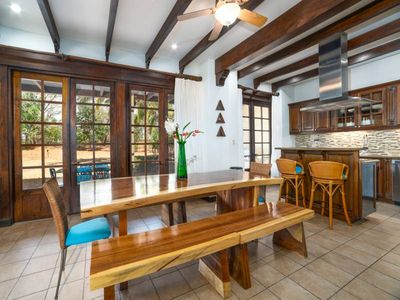 Open concept flow from the dining room to kitchen