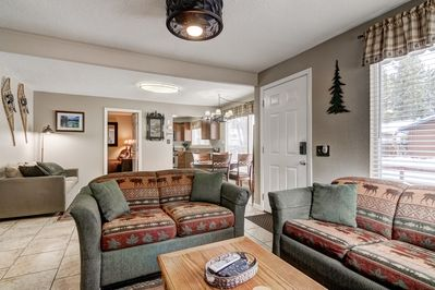 Cozy family room with fireplace and flat screen TV