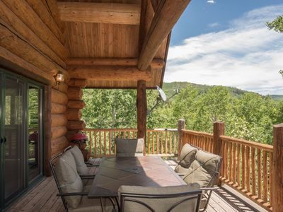 Photo for REMOTE CABIN WITH MTN VIEWS,  WRAP AROUND DECKS, 10 MIN TO GOLD MEDAL FISHING!