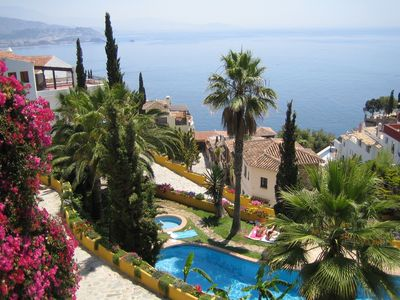 Photo for Charming, Tranquil Villa with Stunning Sea Views, Tropical Pool,  Walk to Beach.