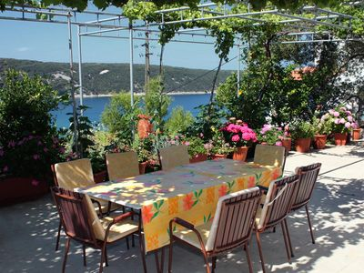 Photo for One bedroom apartment with terrace and sea view Kampor, Rab (A-5032-c)