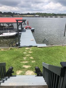 Dock power, ceiling fan, disco lights, water slide, and picnic area.
