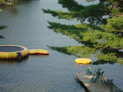 Our beach lounging dock and water trampoline