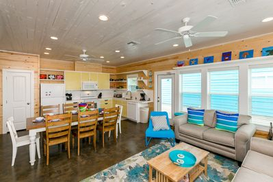 Living Area - Welcome to your beach vacation! This open-concept Port Aransas beach escape can accommodate 12 guests.