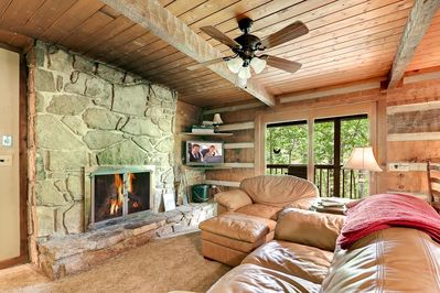 wood burning fireplace that is two sided