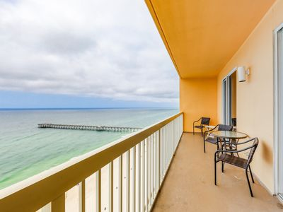 Photo for Spacious gulf front condo w/beach views, shared pools, Tiki Bar, & gym
