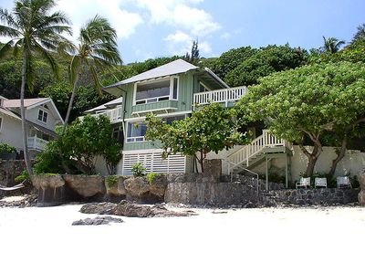 Front view of the house from secluded white sandy beach