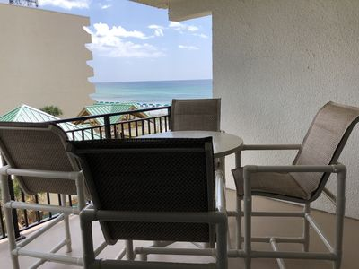 The view from our 1st balcony...offering side view of Gulf