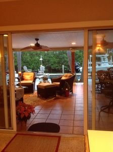 Photo for Beautifully decorated waterfront home with pool & spa deeded beach access
