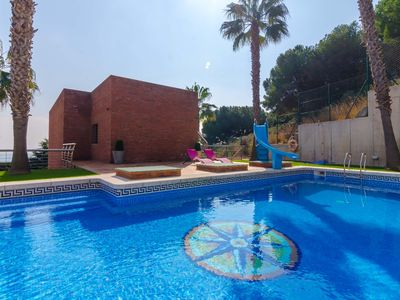 Photo for Club Villamar - Marvellous, spacious and modern villa with interior squash field, fitness room and several terraces from here you can enjoy of the precious sea views