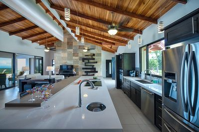 Kitchen with large island and plenty of space for two.