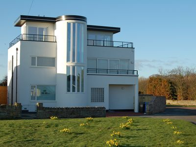 Photo for Luxury Art Deco house with stunnng sea views!  Directly opposite The Haven beach