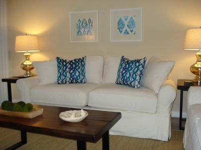Relax in your comfortable living room after a day of fun in the sun.