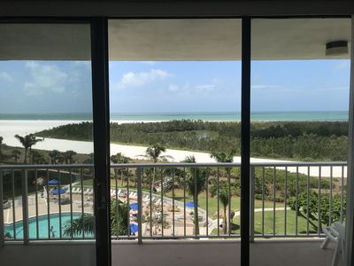 View of pool and gulf from the Living Room
