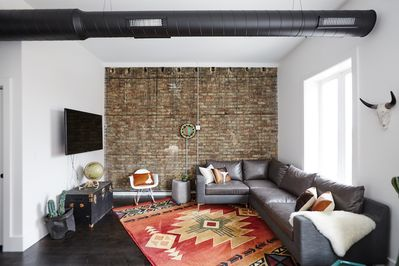 Living Room with Brick Accent Wall