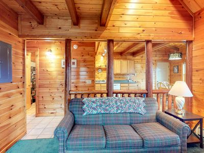 Photo for NEW LISTING! Log cabin w/deck & shared pool/hot tub-near Moosehead Lake