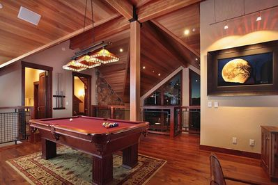 Loft Game Room with pool table