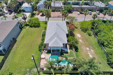Aerial of the backyard for the beautiful private home on South Padre Island!