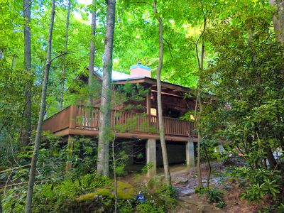 Photo for Riverfront Log Cabin + Private Waterfall and Scenic Nature Views