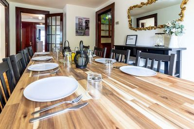 Large beautiful dining table for big groups!