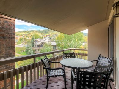 Photo for Top floor mountain view condo w/ shared hot tubs & fire pit close to the gondola