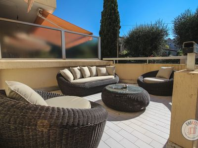 Photo for Modern and bright apartment with 18m2 terrace in quiet zone near Cannes