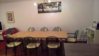 The big dining table (240x110 cm) offers 8 seats