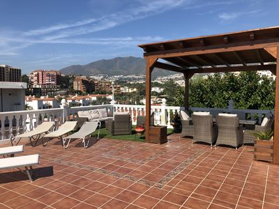 Beautiful roof terrace sea & mountain views sun beds and sun all day WONDERFUL