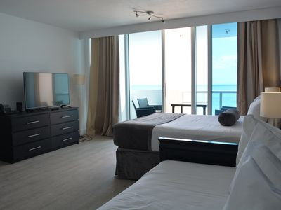 Photo for Bright Beachfront Studio with Ocean View Balcony! Pool On-Site!