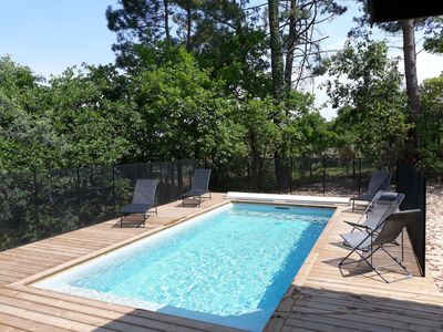 Photo for Landaise villa with pool and seen on the forest