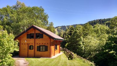 Photo for New et mod cons chalet made in wood in the heart of nature and close to downtown