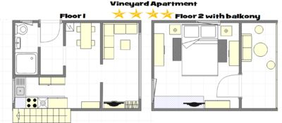 Vineyard Apartment 4* (50qm²)  -- HI-Speed WIFI -- private cctv secured parking