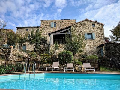Photo for Authentic Ardeche mas 14 sleeps / 7 bedrooms with pool