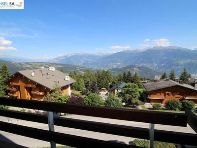 Photo for Nice 1 bedroom apartment for 3 persons in the center with a beautiful view over the Valaisian Alps.