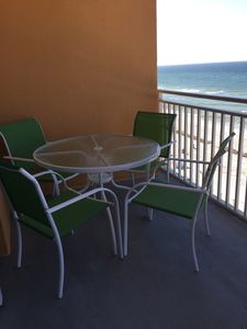 Enjoy meals on the balcony, while looking at the Gulf of Mexico!