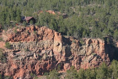 View of cabin from across the canyon