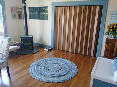 The accordion door separates the visitor's area from the host's area