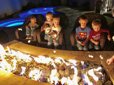 Kids love roasting marshmallows by the pool