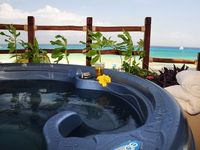 Enjoy your PRIVATE Jacuzzi overlooking the Caribbean Sea!