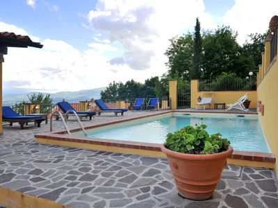 Photo for Lovely apartment in villa with WIFI, pool, A/C, pets allowed, panoramic view and parking