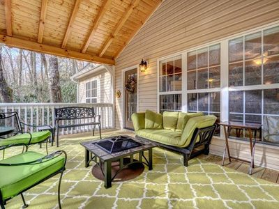 Photo for Walk to town from this light and bright, 3 BR/2.5 bath cabin in the woods.