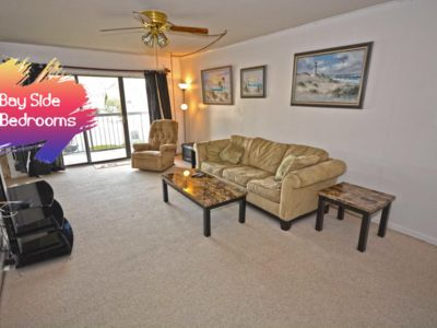 Photo for Modern 2 bedroom condo on the bayside in a quiet north Ocean City with free WiFi, an outdoor pool, and a tennis court located just a few blocks from the beach!