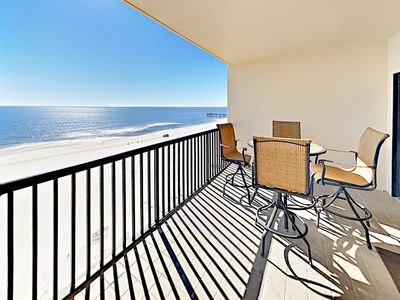 Photo for Gulf-View 3BR Palms Condo with Big Balcony, Pools, Sauna & More