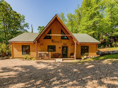 Photo for Big Trout Wood Cabin, HotTub, Grill, Game Room Loft,