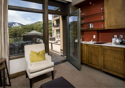 Your studio has a door  to your very large private deck w/spectacular mtn view