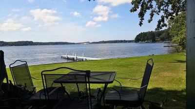 View of lake and sand dunes from cottage deck